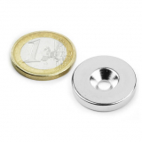 Screw-on disc magnet 23x4 mm
