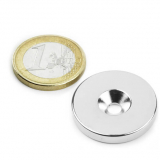 Screw-on disc magnet 27x4 mm