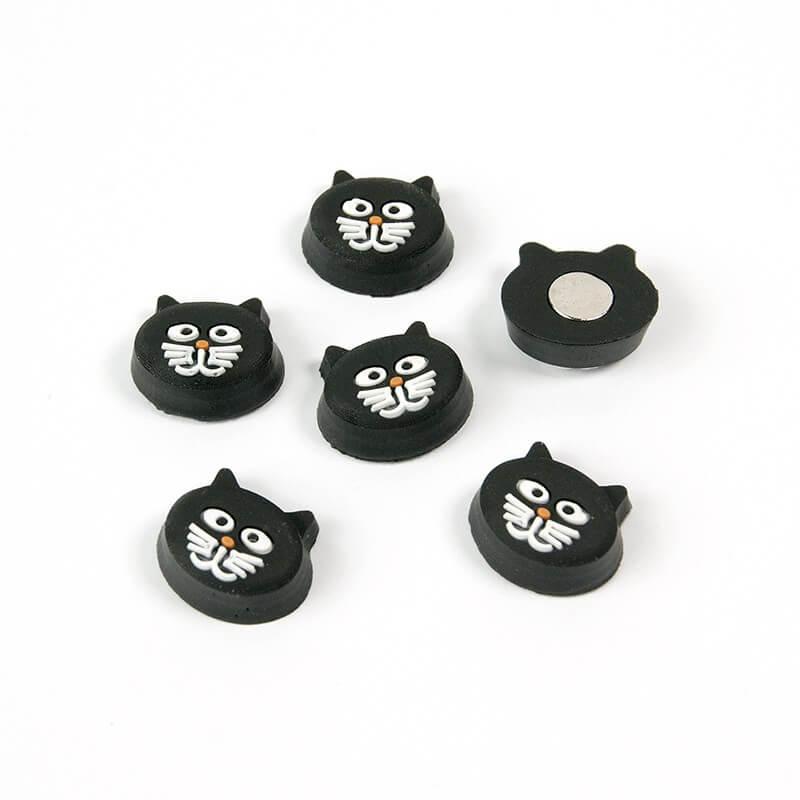 Image of   Magneter sorte Kitty Kat 6 styk