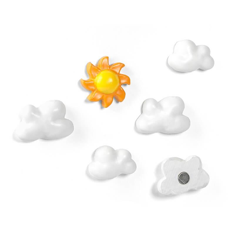 Image of   Magneter skyer og sol 6 styk