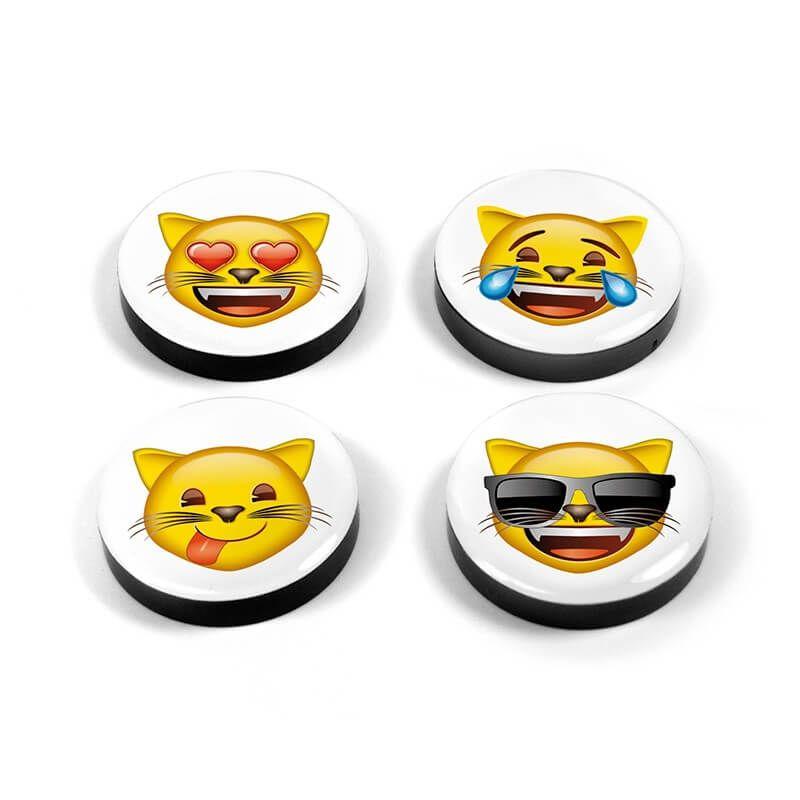 Image of   Magnetiske Emoji katte 4 styk