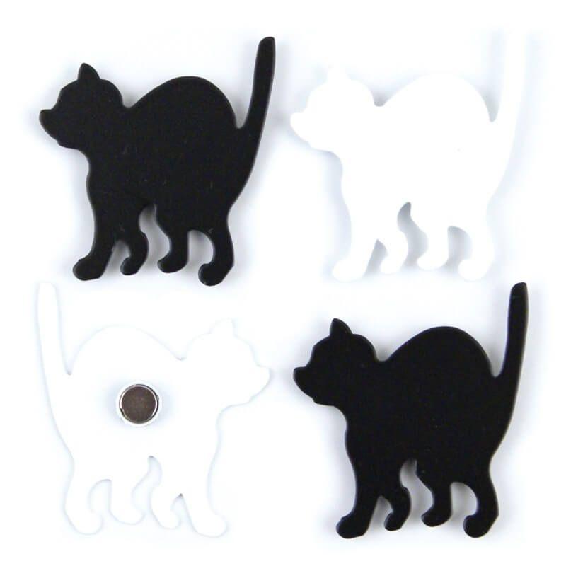 Image of   Magneter Kitty sort/hvid 4 styk