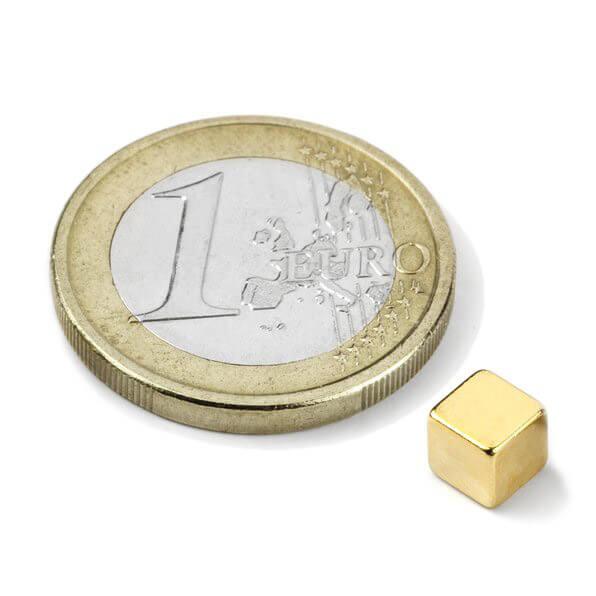 Image of   Blokmagnet guld 5x5x5 mm