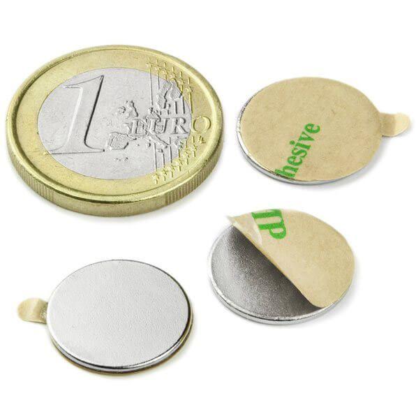 Skivemagnet m/lim, 20 styk, 15x1 mm