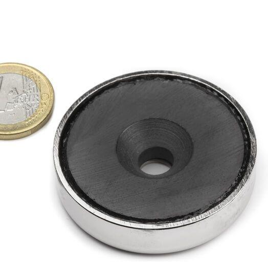Undersænket ferrit pottemagnet 48x11 mm