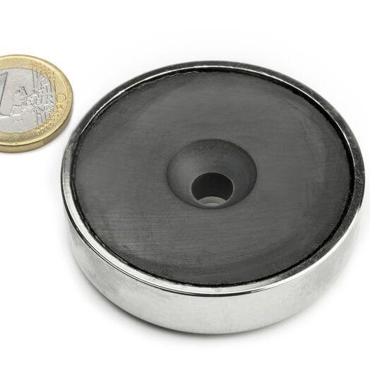 Undersænket ferrit pottemagnet 60x15 mm