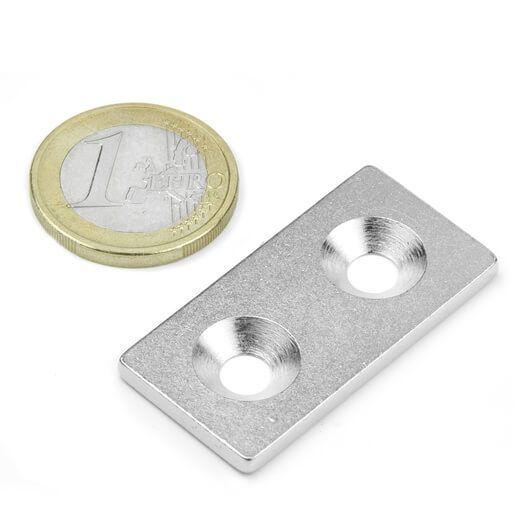 Undersænket metalbase 40x20x3 mm